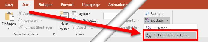 PowerPoint-Menü: Schriftarten ersetzen...