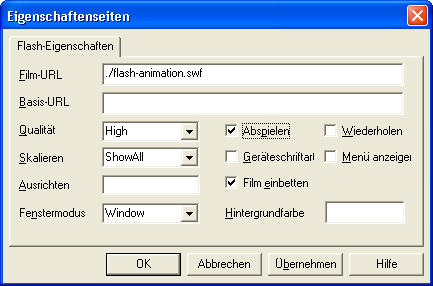 PowerPoint Flash-Eigenschaften