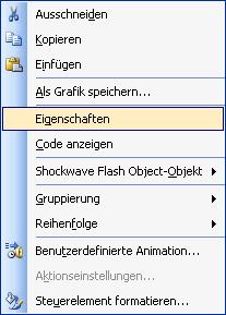 PowerPoint Kontextmenü Objekt-Eigenschaften
