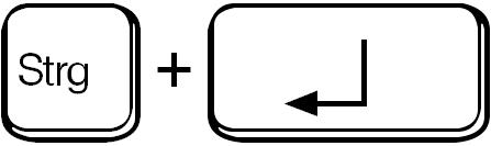 Strg + Eingabetaste / ctrl + enter