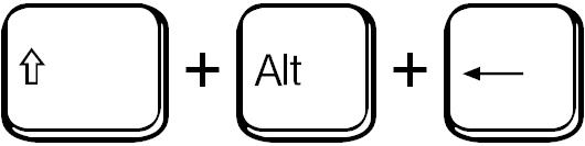 Umschalttaste + Alt + Pfeil nach links / shift + alt + left arrow