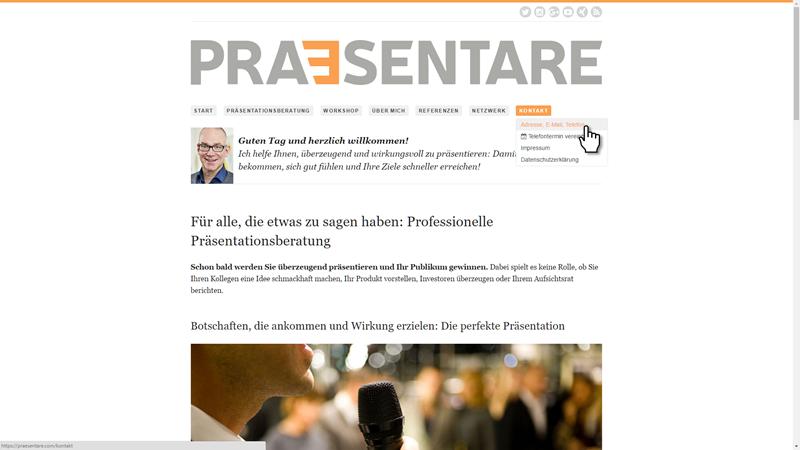 Screenshot der PRAESENTARE-Website
