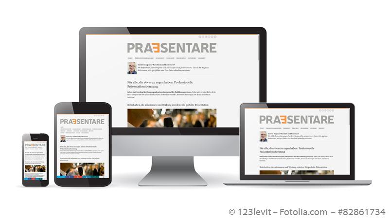 Screenshots der PRAESENTARE-Website auf verschiedenen Bildschirmen